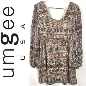 UMGEE   Boho Scoop Neck Long Sleeve Dress Large